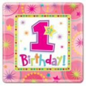 "One-Derful First Birthday Girl 10"" Plates - 8 Plates"