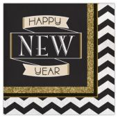 Happy New Year Black & Gold Lunch Napkins - 16 Per Unit