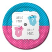 Little Man or Little Miss Baby Shower Plates – 8 ¾ Inches, 8 Pack