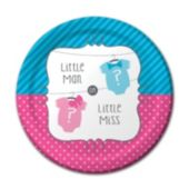 Little Man or Little Miss Baby Shower Plates – 7 Inch, 8 Pack