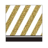 Black & Gold Beverage Napkins - 16 Per Unit