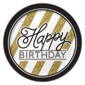 "Black & Gold Birthday Plates - 8 3/4"" - 8 Per Unit"