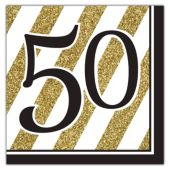Black & Gold 50th Lunch Napkins - 16 Per Unit