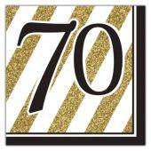 Black & Gold 70th Lunch Napkins - 16 Per Unit