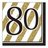 Black & Gold 80th Lunch Napkins - 16 Per Unit