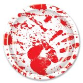 "Bloody Hand Print 9"" Plates – 8 Pack"