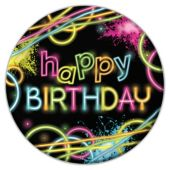 "Glow Party Birthday Plates -9"" - 8 Per Unit"