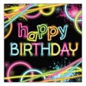 Glow Party Birthday Lunch Napkins - 16 Per Unit