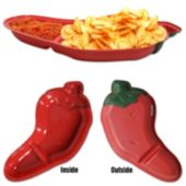 "Chili Pepper Chip and Dip 15"" Plastic Tray"