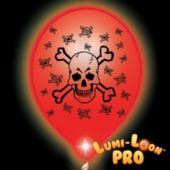Skull & Crossbones White Balloons Red Lights
