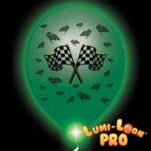 Checkered Flag White Balloons Green Lights - 10 Pack