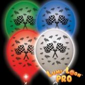 Checkered Flag White Balloons Assorted Lights