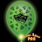 Mardi Gras Mask Green Balloons White Lights - 10 Pack