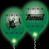Football Yardline White Balloons Green Lights - 10 Pack