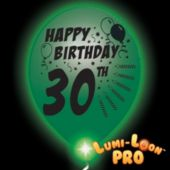 30th Birthday  White Balloons   Green Lights - 10 Pack