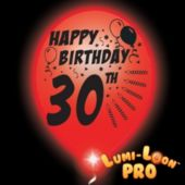 30th Birthday White Nalloons Red Lights - 10 Pack