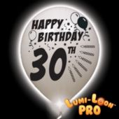 30th Birthday White Balloons White Lights - 10 Pack