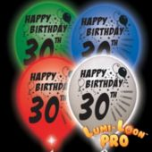 30th Birthday White Balloons Assorted Lights  - 10 Pack