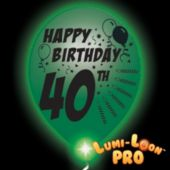 40th Birthday  White Balloons   Green Lights - 10 Pack
