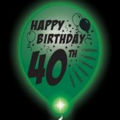 40th Birthday  White Balloons   Green Lights - 10 Pack