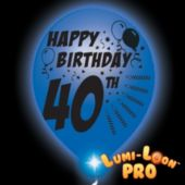 40th Birthday   White Balloons   Blue Lights - 10 Pack
