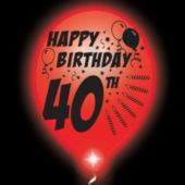 40th Birthday   White Balloons   Red Lights - 10 Pack