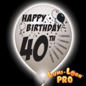 40th Birthday   White Balloons   White Lights - 10 Pack