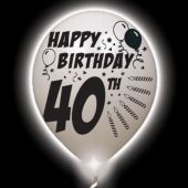40th Birthday   White Balloons   White Lights - 10 Pack