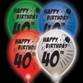 40th Birthday   White Balloons   Assorted Lights - 10 Pack