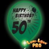 50th Birthday   White Balloons   Green Lights - 10 Pack