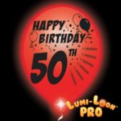 50th Birthday   White Balloons   Red Lights - 10 Pack