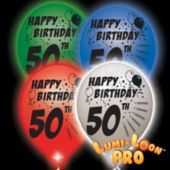 50th Birthday   White Balloons   Assorted Lights - 10 Pack