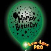 Birthday Lumi-Loons White Balloons Green Lights