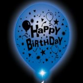 Birthday Lumi-Loons White Balloons Blue Lights - 10 Pack