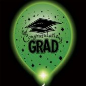 Congrats Grad Green Lumi-Loons Balloon Lights - 10 Pack