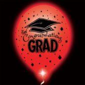 Congrats Grad Red Lumi-Loons Balloon Lights - 10 Pack
