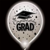 Congrats Grad White Lumi-Loons Balloon Lights - 10 Pack