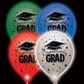 Congrats Grad Assorted Color Lumi-Loons Balloon Lights - 10 Pack