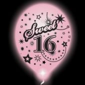 Sweet 16 Lumi-Loons Pink Balloons White Lights - 10 Pack