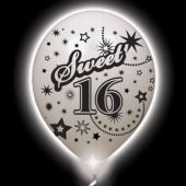 Sweet 16 Lumi-Loons White Balloons White Lights - 10 Pack