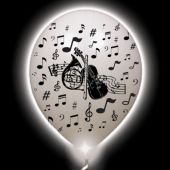 Musical Lumi-Loons White Balloons White Lights - 10 Pack