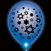 Jewish Star Lumi Loon Blue Balloons With Blue LED Lights - 10 Pack