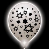 Jewish Star Lumi-Loons White Balloons White Lights - 10 Pack