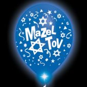 Mazel Tov Lumi-Loons Blue Balloons White Lights - 10 Pack