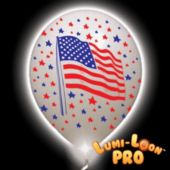 USA Flag Lumi-Loons White Balloons White Lights - 10 Pack