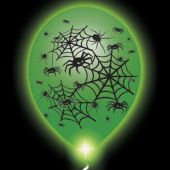 Spider Lumi-Loons Balloon Lights White Balloons Green Lights - 10 Pack