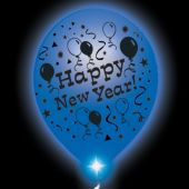 New Year Lumi-Loons White Balloons Blue Lights - 10 Pack