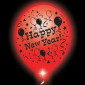 New Year Lumi-Loons Balloons, White Balloons-Red Lights-10 Pack