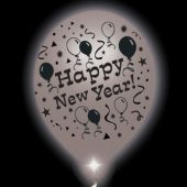 New Year Lumi-Loons Silver Balloons White Lights - 10 Pack