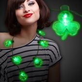 Green LED and Light-Up Shamrock Necklace